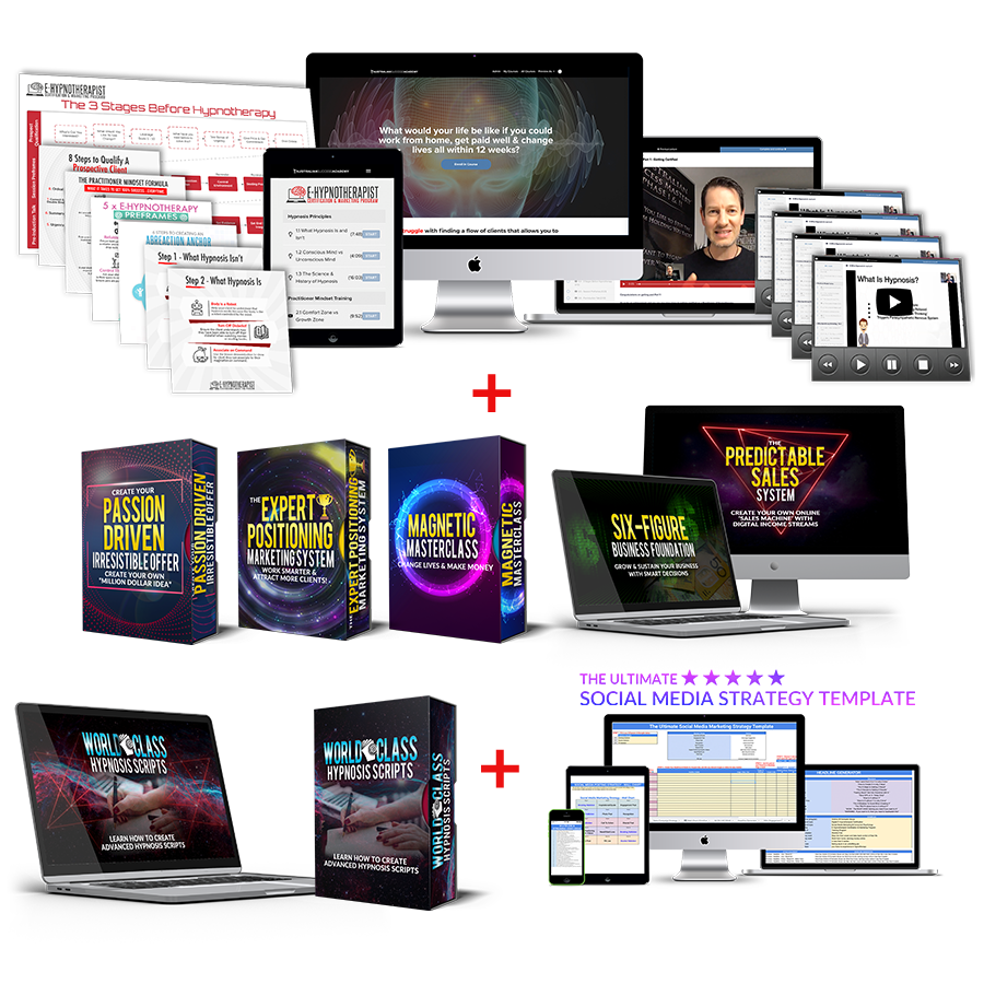 The bundle image of the E-Hypnotherapist Certification & Marketing Program